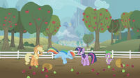 Rainbow Dash flying towards the ground S1E3