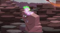 Spike shushes Twilight and Rarity S6E5