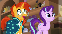 Sunburst marveling at the Mighty Helm's map S7E24