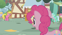 Surprised ponies watching Fluttershy run away S01E05
