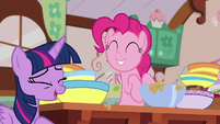 Twilight Sparkle laughing at Pinkie Pie S7E23