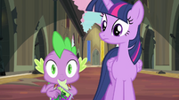 Twilight and Spike looking surprised S4E06