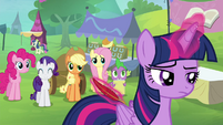 Twilight sighing and levitating a quill S4E22