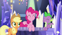 Applejack and Spike amused by Pinkie S9E14
