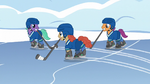 Earth pony stallions playing hockey S5E5