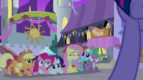 Main five and Spike look nervous at Twilight S9E17