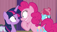 Pinkie Pie looking giddy at Twilight S9E16