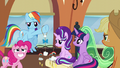 Pinkie embarrassed; Rainbow annoyed S6E1.png