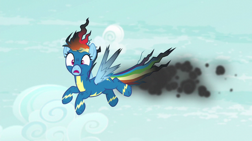 Rainbow Dash covered in soot S6E7