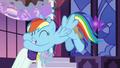 Rainbow hugs Rarity; accidentally spills drink onto Rarity's dress S5E15.png