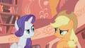 Rarity and Applejack after clinging again S01E08.png