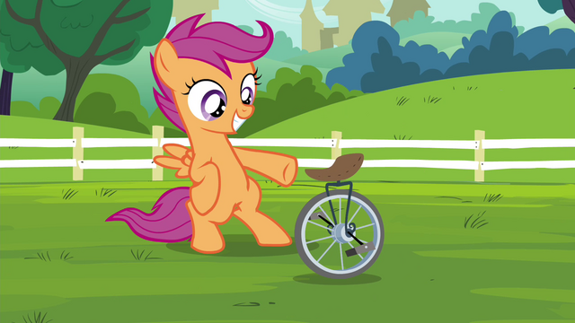 File:Scootaloo with her unicycle S4E15.png