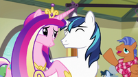 Spearhead greets Cadance and Shining in background S7E3