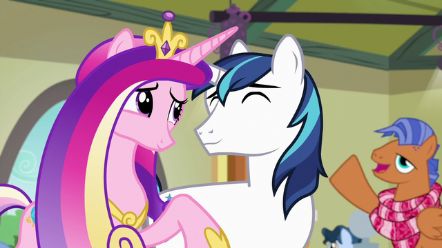 File:Spearhead greets Cadance and Shining in background S7E3.png