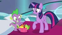 Spike presenting a basket of treats S8E7