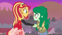 Sunset Shimmer helping up Wallflower EGFF