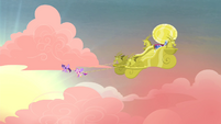 Twilight and Cadance pulling chariot S4E11