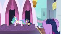 Twilight spying on Celestia and Shining Armor S9E4