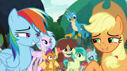 Applejack and Rainbow smiling at each other S8E9