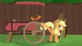 Applejack kicks spoiler off of the cart S6E14.png
