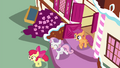 Cutie Mark Crusaders leaving Sugarcube Corner S4E21.png