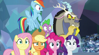Discord and ponies witnessing the battle S9E25