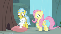 Dr. Fauna and Angel shocked by Fluttershy waking up S9E18