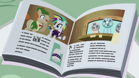 Magazine photo of Rarity helping Mr. Breezy S7E19