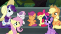 Main four and CMC amused by Pinkie's antics S6E7.png