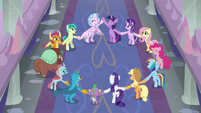 Mane Six and students in a friendship circle S8E2