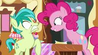 Pinkie Pie excitedly greeting Sandbar S8E2