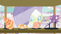 Rarity looking at various seashells EGSB