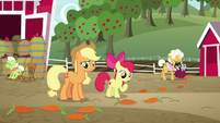 AJ and Apple Bloom see trail of carrots S9E10