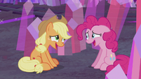 AJ and Pinkie share an embarrassed laugh S5E20