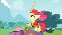 Apple Bloom with a rolled map on her head S4E09