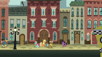 Applejack asking ponies on the street S5E16