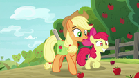 Applejack shocked; Apple Bloom ecstatic S9E10
