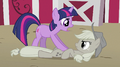 Applejack tackled to the ground by Twilight S2E02.png