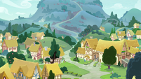 Distance view of Ponyville and mountainside S7E6
