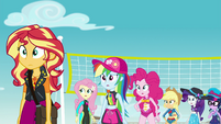 Equestria Girls looking confused at Trixie EGFF
