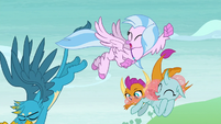 Gallus and Smolder dive toward the ground S8E1