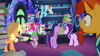 Mane Six and Sunburst listen to Starlight read S7E25