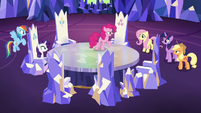 Pinkie Pie addressing her pony friends S7E11