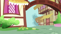 Ponyville houses; an impact is heard S5E19