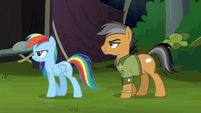 Quibble begrudgingly follows Rainbow S6E13