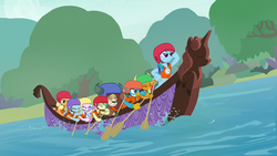 Rainbow Dash leading while the Young Six row S8E9