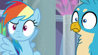 Rainbow and Gallus hear Prince Rutherford S8E1