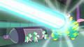 Saddle Rager blasted with Mane-iac's weapon S4E06.png