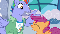 Scootaloo excitedly nodding to Bow Hothoof S7E7
