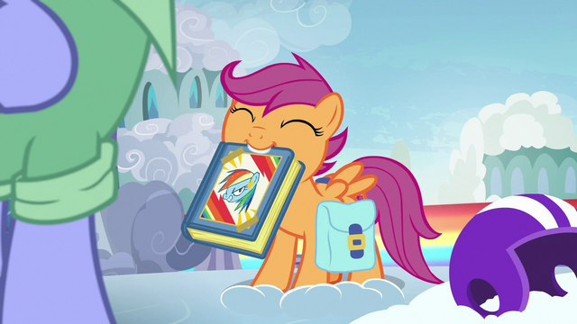 File:Scootaloo presents her Rainbow Dash scrapbook S7E7.png